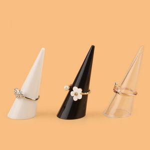 Gioielli Mini acrilico Dito del supporto dell'anello del triangolo del cono dell'anello Exhibition mensola di mostra dei monili a ripiani stand 3 colori
