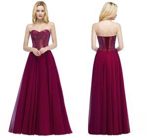 2018 Разработано новое возлюбленное бордовое вечернее платье для выпускного вечера A Line Glitz на шнуровке без спинки длинное шифоновое платье подружки невесты CPS883