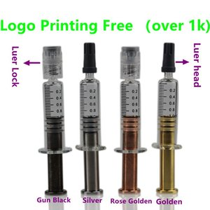 Colorfull metal twist plunger Luer Lock or head 1ml Glass Syringe glass container For co2 Oil Cartridge Glass cartridge thick oil Tank
