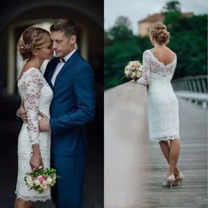 Moderno 2019 manga larga vestidos de boda del cortocircuito de la cucharada de la envoltura del cuello longitud de la rodilla vestido de novia de encaje de recepción Vestidos