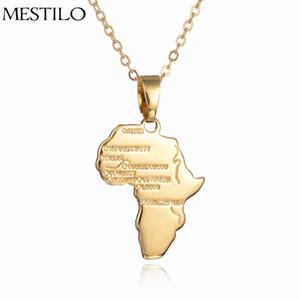 Африка Карта Ожерелье Женщины Девушка Золотой Цвет Ювелирные Изделия Мужчины Африканская Карта Хип-Хоп Пункт Оптовая Этническая Эфиопия Ciondolo
