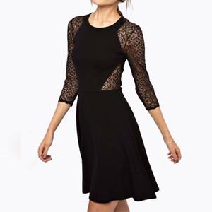 2019 novo estilo preto openwork bordados rendas vestido frete grátis lady dress