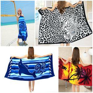 Asciugamano d'acqua assorbente rapido di estate della spiaggia di Microfiber di vendita calda assorbente Asciugamano di bagno stampato grandi uomini di campeggio Asciugamani di yoga