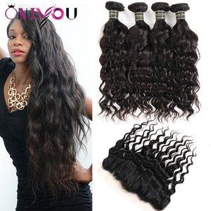 Самые популярные норки бразильские девственные волосы плетение 4 пучка воды волна человеческих волос с закрытием 13x4 кружева фронтальные пучки уха до уха ткет