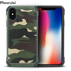 Für iPhone X Xs XsMax XR 8 7 6 6S Plus Fall Armee Camouflage 2 in1 Muster PC + TPU Rüstung Anti-Klopfen Schutz Rückseitige Abdeckung für iPhone X Taschen