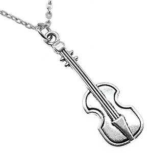 WYSIWYG 5 Pieces Metal Chain Necklaces Pendants Vintage Necklace Handmade Musical Instrument Violin 42x13mm N2-B13474