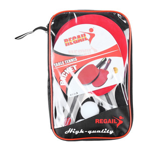 REGAIL 8020 Table Tennis Ping Pong Racket Two Long Handle Paddle Bat Three Balls