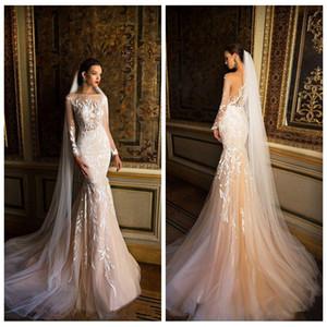 Slim Custom 2018 Vestidos de novia Sirena Sheer Mangas largas de encaje Apliques de encaje Vestidos de novia Champagne Light Vestidos de novia personalizados