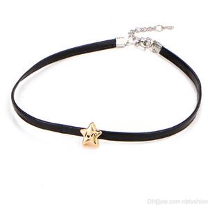 Moda europea Nuevo Patrón de collar Personalidad Street Time Gargantilla Collar Fondo corto Five-pointed Star Leatherwear Collar de mujer