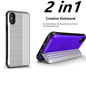 2 en 1 caso de la armadura híbrida a prueba de golpes cepillado titular de la caja del soporte de la tarjeta de crédito cubierta de bolsillo con pata de palo para Samsung S9 Note8 iphone X