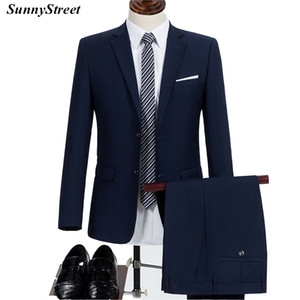 Men's Business Formal Suit Office Employee Wear Jacket and Pant Two Piece Set Black Blue Blazer