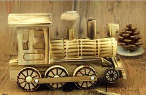 Natural artesanato em madeira enfeites criativos presentes decoração única quarto brinquedos para crianças de madeira locomotiva decoração de casa artesanato