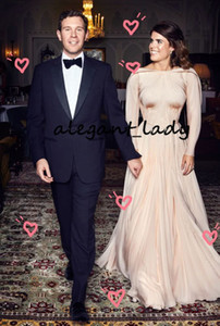 Princess Eugenie Nude Pink Prom Formal Dresses with Long Sleeve 2019 jewel Neck Flowy Skirt Simple Design Women Church Garden Evening Gown