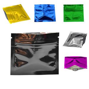 200 pçs / lote 7.5 * 6 cm Preto Brilhante Folha De Alumínio Saco Zip Lock Saco De Pacote de Pérola De Café Cápsula À Prova de Olho Mylar Embalagem De Armazenamento Bolsa