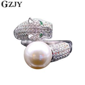 GZJY Fashion Tiger Inlay Shell Zircon cubique Perle Anneaux d'ouverture pour les femmes en or blanc couleur de la bague K02-3