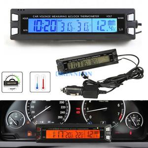 DHL 20PCS Coche Auto LCD Reloj digital Termómetro Temperatura Medidor de voltaje Monitor de batería
