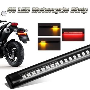 48LED Soft Rubber Strip Rot und Gelb Motorrad Auto LED Blinker Licht Schwanz Bremse Stop Lizenz
