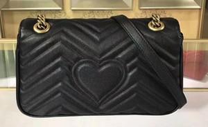 5A Damen 443497 26cm Marmont Matelassé Schultertasche aus echtem Leder, Antike goldfarbene Hardware, Klappenverschluss, mit Box + Staubbeutel + Empfang
