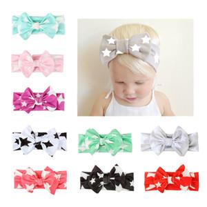 Seidentuch Little Star Printed Big Bow Nette Haarband Europa Style Baby Kopfschmuck Kinder Kopftuch Infant Stirnband 9 Farben viel