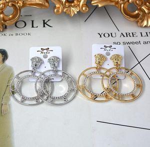 Оптовая Boho Loin Head Серьги Большой Круг Письма Мотаться Серьги Золото Серебро Кристалл Rhinestone Серьги Женщины Партия Ювелирных Изделий