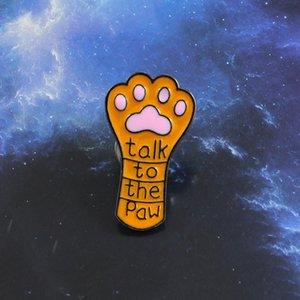 Lange süße Katze Claw Dog Claw Brosche Gespräch mit der Pfote Orange Pet Paw Print Emaille Revers Pin Jeans Leder Abzeichen Kind und Freund Geschenk