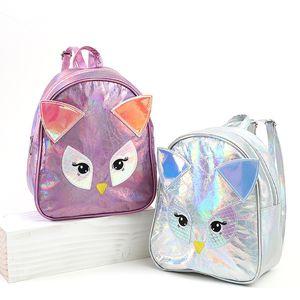 Mochila nova caricatura de luxo coruja PU de laser sacos crianças crianças animais bonitos mulheres meninas saco de viagem