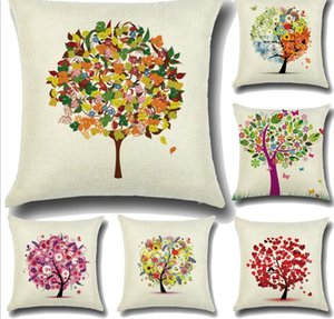 20 Styles 45*45cm Plants Tree Decorative Pillow cases Colorful Tree Cotton Linen Pillow Case Pillow Cover kussensloop almohada