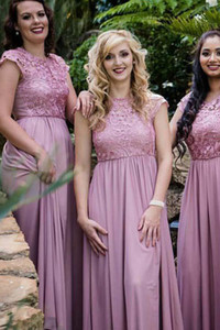 Dusty Rose Lace Cheap Bridesmaid Dresses Long Country Style Short Sleeve Jewel Sheer Neck Chiffon Full length Prom Evening Formal Gowns