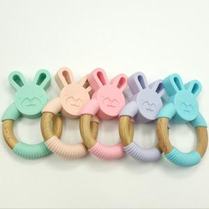 Bunny силиконовые и дерево Testher Ring натуральное органическое буковое дерево зубоврачебное кольцо мягкий кролик кролик жевать игрушки детские младенческие подарки