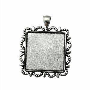 6 Pezzi Cabochon Cameo Tray Base coperchietto accessori gioielli Filiali Albero solitario Side Side-On formato interno 30mm cabochons di vetro quadrato