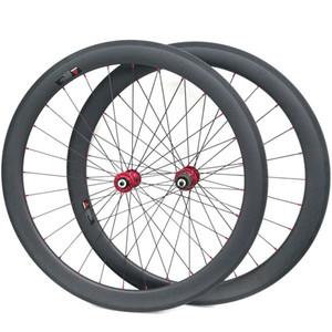 50 мм Глубина углерода колесная пара спереди+сзади 25 мм ширина 3 K матовая поверхность базальтовый тормоз Красный ступица, пригодный для Shimano 9/10/11 скорости колеса