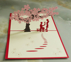 Postcards 3D laser Merry Christmas Tree Vintage Greeting Cards Handmade Christmas Gifts Souvenirs