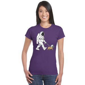 SpaceX Spaceship Rocket camiseta Astronaut Dog Cool Camiseta Women StarmanX Space dog Camisetas The Walking Dead fitness Camiseta de algodón