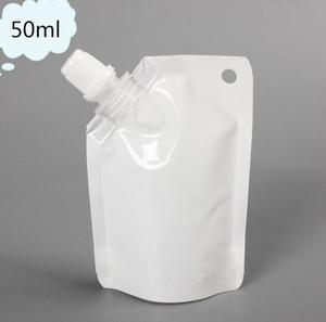 50 мл белый пластиковый пластик Doypack жидкость стенд вверх по хранению сумка упаковка с боковым носиком бесплатная доставка SN2128