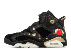 Con Box 6s Happy Chinese New Year 2018 CNY nero 6 sneakers da basket con scarpe da uomo con cucitura a fiori