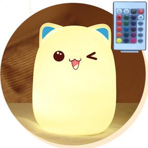 Conejo Forma Bunny Light USB Control Remoto Recargable Sensor de Silicona Luz de Noche para Niños Juguetes Decoración de la Mesa de Noche