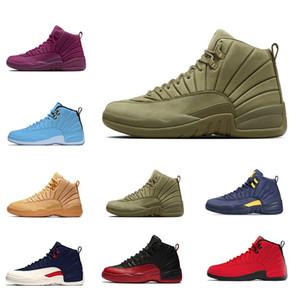 Yeni 12 12 s Michigan XII Basketbol Ayakkabı Michigan Bulls Koleji UNC NYC Taksi Gri Spor Koşu Ayakkabıları Için mens ayakkabı Sneakers 5.5-13