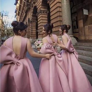 Knöchel Länge Brautjungfernkleider großen Bogen Satin Garten Land Kapelle Hochzeit Gast Kleider Trauzeugin Kleid Roben de Demoiselle d'Honneur