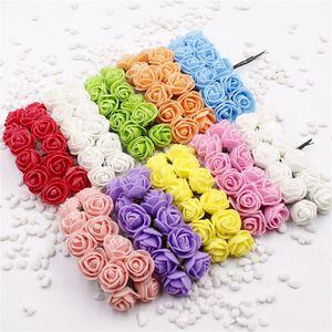 144 pcs mini espuma rose flores artificiais para casa de casamento decoração do carro diy pompom grinalda de flores de noiva flor falsificada