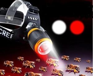 XPE T6 LED Faros Fuente de luz doble Zoom 5 modos Luz de antorcha Luz de antorcha Lámpara de carga 18650 Para pesca nocturna Apicultura