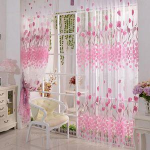 Tulip Flower Floral Tulle Voile Window Curtain Drape Sheer Decor Valances Door Window Balcone Sheer Panel tenda schermo
