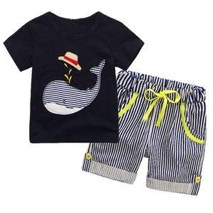 crianças Atacado designer de roupas meninos Verão Boy INS chapéu baleia faixa terno desenhos animados do dinossauro T-shirt de manga curta + calções terno roupas de bebê