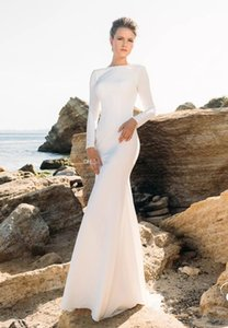 Elegant White Mermaid Evening Dresses Jewel Neck Long Sleeve Backless Trumpet Formal Gown Sweep Train Satin Vestido