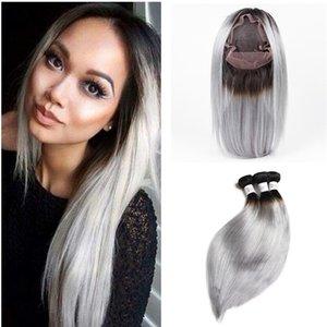 Siver Grey Ombre peruana Virgen del pelo humano teje con 360 Cierre de encaje banda 1B recto frontal del cordón / Grey Ombre 360 con 3 paquetes