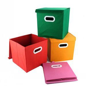 Almacenamiento de tela no tejida Caja de acabado plegable con tapa Misceláneas Cestas Colocación Función múltiple Cinco colores 5 5ly C RVkk