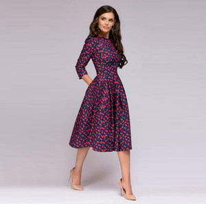 Kadın Elegent A-line Elbise Vintage Baskı Parti Vestidos Üç Çeyrek Kol Kadınlar Sonbahar Elbise (Hiçbir Cepler)