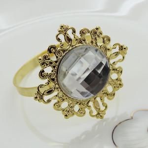 결혼식을위한 새로운 골드 클리어 냅킨 반지 파티 호텔 연회장 저녁 장식품 냅킨 버클 다이아몬드 냅킨 링