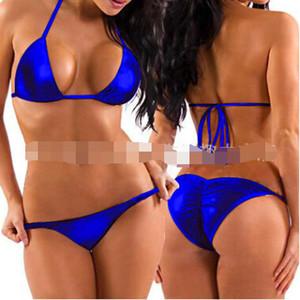 Venta al por mayor -2018 Nuevo traje de baño Sexy Hot Erotic Metallic Bikini Set Stripper Wear Beach Mujeres Traje de baño Traje de baño Brasileño Vintage Biquini