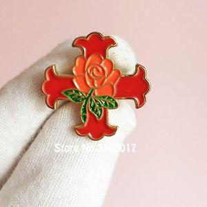 Nuovo arrivo Spilla massonica Spilla rossa di Costantino Rosa Spille Spilla Spilla Cavaliere Rito scozzese Masons gratis Distintivo dello smalto