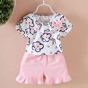 Bebek Kız Giyim Seti Yaz Çocuklar Little Miss Kıyafet Bebek Çiçek Kısa Kollu T-Shirt + pantolon 2adet Çocuk Giyim Seti